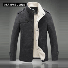 Manvelous Velvet Jacket Men Casual Slim Stand Collar Solid Polyester Outerwear Jacket Thick Dark Gray & Khaki Jacket Mens Coats