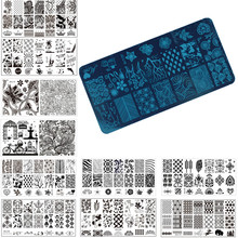 1 Pcs Nail Art Stamp Stamping Image Plate 6*12cm Stainless Steel Nail Template Manicure Stencil Tools, 20 Styles For Choose(China)