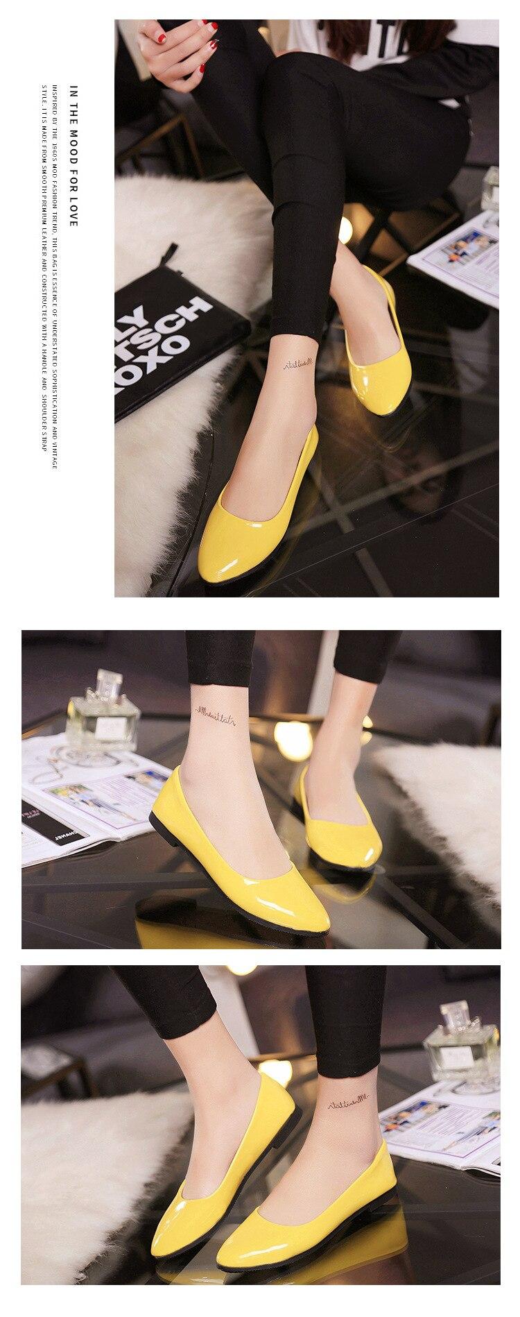 2018 Pu En Cuir Verni Chaussures Femme Chaussures Simples 3