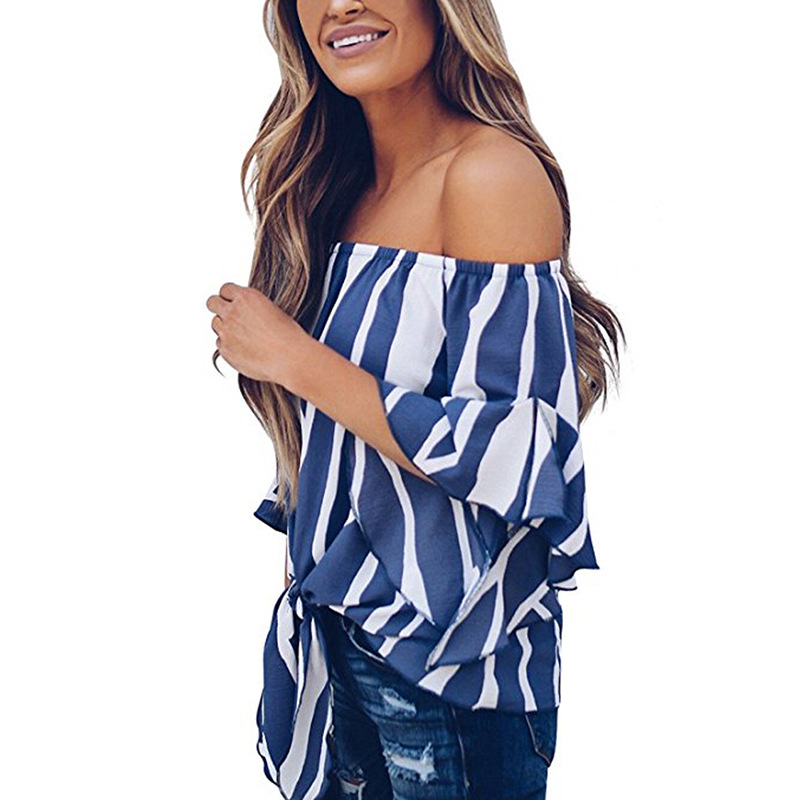 LOSSKY Women's Striped Chiffon Shirts Blouse Sexy Off Shoulders Bandage Women Casual Blusas Shirt 2018 Summer Loose Elegant Tops 20