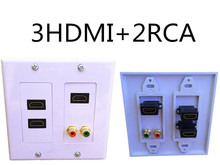 3HDMI 1RCA AV Wall Plate Composite Video Audio Adapter Jack Outlet Panel HDTV ABS CCTV TV(China)