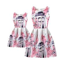 Europe-American Style Mother Daughter Dresses 2017 Summer Print Family Matching Clothes Mom Daughter Dress Girl Princess Dress