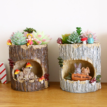 1Pc Creative Tree House Resin Animals Flower pots Succulent Plant Pots Micro-landscape Fairy Garden Decoration Bonsai Planter(China)