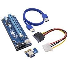 NOTAYO NEW Blue 0.6M PCIE PCI-E 1x to 16x Riser Card Extender+USB 3.0 Data Cable / SATA to 4Pin IDE Power Cord for Bitcoin Miner