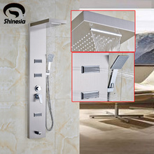 Brushed Nickel Stainless Steel Bathroom Shower Faucet Shower Panel Column Massage Jet Tub Tap with Hand Shower Spray(China)