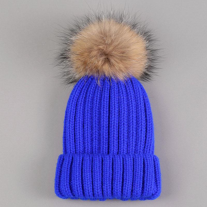 kid hat with fur pompom royal blue 1