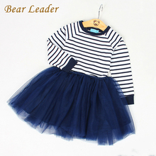 Bear Leader Girls Dress 2017 Spring Girls Dresses Long Sleeve Blanck&White Striped Mesh Design Princess Dress Children Clothing(China)