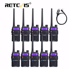 10pcs Retevis Walkie Talkie RT5R+Program Cable VHF UHF Radio Station 128CH VOX FM Frequency Portable cb Radio Set Hf Transceiver(China)