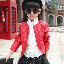 Spring Autumn Kids Girl Leather Jacket Children's Clothing Cardigan Zipper Red/Black Jacket&Coat Girls Fashion Outwear 4-15Years(China)