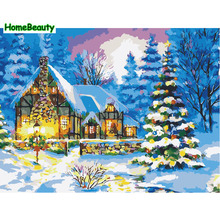 Home Beauty diy oil painting paint by numbers Christmas gift canvas coloring picture by number wall drawing for living room 6506