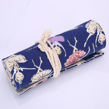 36/48/72 Holes British Ballet Dancing Girl Canvas Pencil Case Roll Up Sketch Painting Pen School Office Stationery Bag