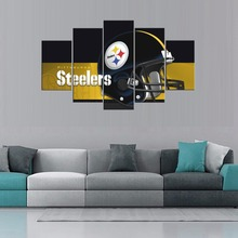Hot Sale American Football Cap Pittsburgh Steelers Sport Team Oil Painting Artwork Sport Logo on Canvas Living Room Decor 5pcs