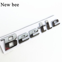 Newbee 3D Chrome Metal Sticker Beetle Emblem Badge Logo Decal For Volkswagen VW Beetle TDI TSI Rear Trunk Car Styling Decoration(China)