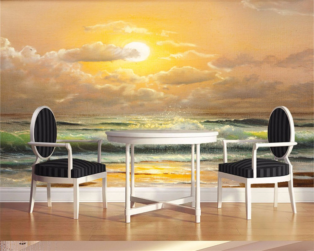 Sunrise glowing sea wave beach fresco Great custom background bedroom living room sofa 3d room wallpaper landscape 3d wallpaper<br><br>Aliexpress