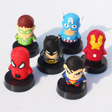 6pcs/set Cute SuperHero The Avengers Spider man Iron Man Batman Captain America Green Lantern PVC Figure Toys