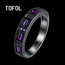 TOFOL Rings New Trendy Black Ring Men Women Zicon Rings Blue Green Purple Ring Finger Size 6 7 8