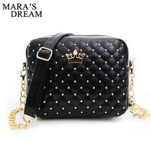 Mara's Dream Small Women Bag Fashion Handbag With Crown Mini Rivet Shoulder Bag Women Messenger Bag 2017 Hot Sale(China)