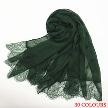 30 colors Hot sale luxury floral lace edges plain solid shawl viscose muslim women hijabs fashion scarf Eid gifts 10pcs/lot(China)