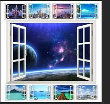 10 styles for you choose ebay hot selling 3D Window Decal WALL STICKER Home Decor Exotic Beach View Art Wallpaper Mural(China)