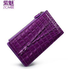 ZIOMEE new purple crocodile genuine leather wallet women brand high quality 18 credit card holder lady alligator & cowhide purse
