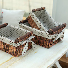 Small & Large Storage Basket for Sundries Drink Food Toys Cosmetics Household Storage Organizer Wicker Baskets with Wood Handles(China)