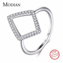 Modian New Design Genuine 925 Sterling Silver Geometric Ring Fashion CZ Zircon Finger For Women Engagement Simple Jewelry Gift