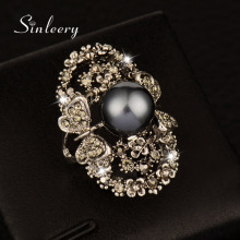 SINLEERY Vintage Big Gray Simulated Pearl Rings Antique Silver Color Gray Crystal Hollow Flower Ring For Women Jewelry JZ003(China)