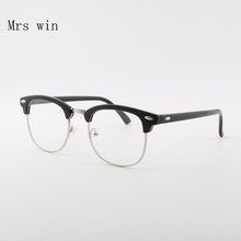 Mrs win Classic Clear Lens Half Metal Men Sunglasses Women Brand Designer Retro Rivet Sun Glasses Clubmaster Gafas Oculos De Sol