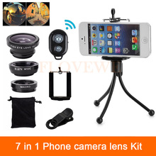 Universal 7in1 Phone Lenses Kit Fish eye Lens Wide Angle Macro Lentes Clips Tripod Shutter For iphone 4 4s 5 5s 5c SE 6 6s 7 8(China)
