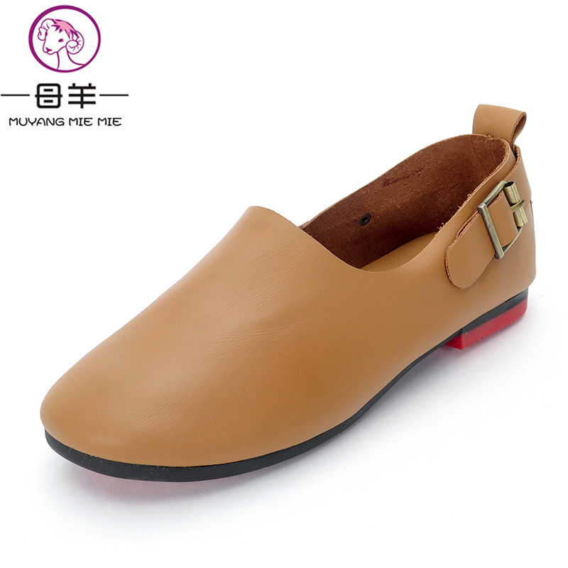 MUYANG MIE MIE Women Shoes Woman Genuine Leather Soft Comfortable Loafers Female Casual Flat Shoes Women Flats<br>