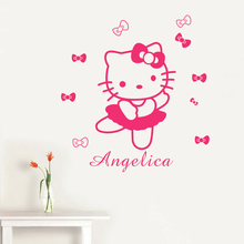 HELLO KITTY Vinyl Wall Decal Personalized Name Kids Room Decor Color Choices 40X60CM(China)