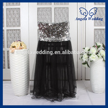 CH019H  Angela Wedding New 2016 wedding sequin top high back puffy tutu black tulle  chair cover