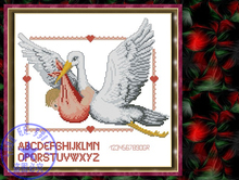 Top Quality lovely beautiful counted cross stitch kit swan and baby coming birth certificate certification(China)