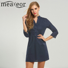 Meaneor Brand Autumn Dress for Office work Women Casual V-Neck Three Quarter Sleeve Front Button Decor Dot Prints Red Blue Dress