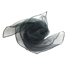 IMC 50s Retro Neck Scarf Square Organza Chiffon Scarf Fancy Wrap Hair Tie Shawl, Black