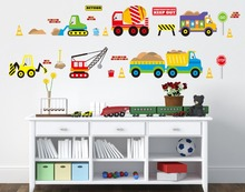 Construction Vehicles Wall Decals Working Forklift Mixer Truck Excavator Crane Truck Wall Stickers for Kids Babies Infant Room(China)