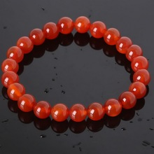 New Product Natural Stone 8mm Red Beads Bracelets Bangles with Elastic Rope for Men and Women Fashion Jewelry