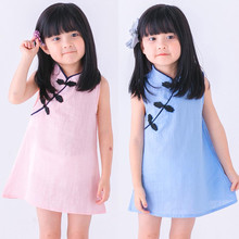 Sweet Baby Dress Girls Summer Toddler Girls Princess Dress Kids Baby Party Wedding Sleeveless Solid Cheongsam Low Price 2-7T