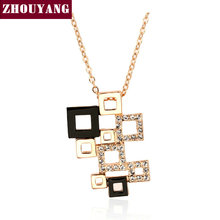 ZHOUYANG Magic Cube Rose Gold Color Fashion Pendant Necklaces Made with Austria Crystal Wholesale ZYN091 ZYN092 ZYN231(China)