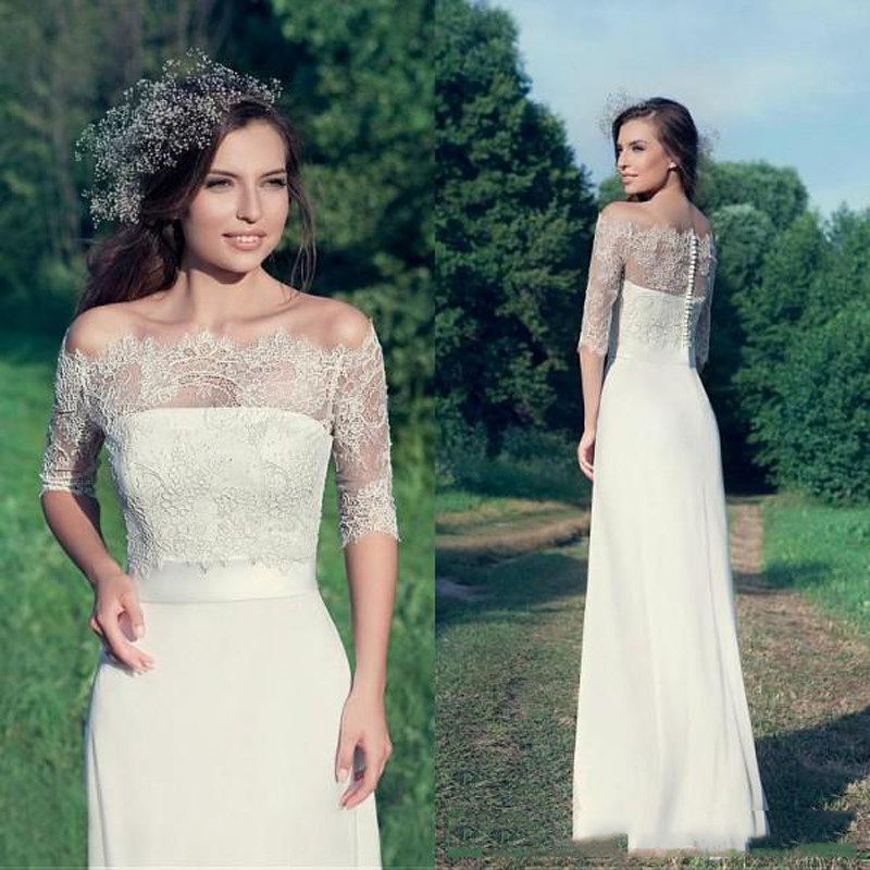 Simple Elegant Country Style Wedding Dresses 2016 Sheath Strapless Bridal Gowns with Sash Sheer Romantic Lace Jacket Illusion Sleeves129