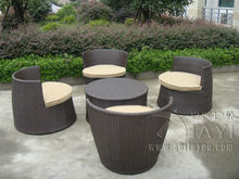 5 pcs Hand-Woven Brown Resin Wicker Bullet/Obelisk Sofa Set , Steel Frame Obelisk Sofa Set transport by sea