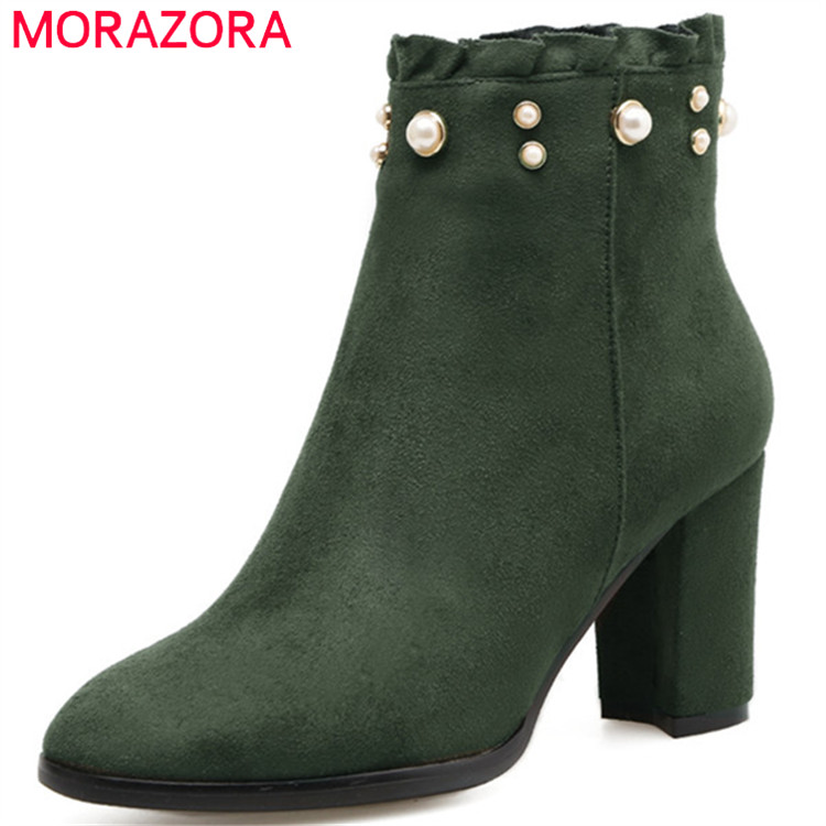 MORAZORA Flock solid zip high heels boots female in spring autumn shoes woman fashion boots for women ankle boots big size 34-41<br>