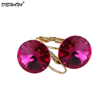 New Design Fashion Luxury Gold-color Austrian crystal earrings zircon Statement jewelry for women Earing Jewellery Femme E0097-1(China)