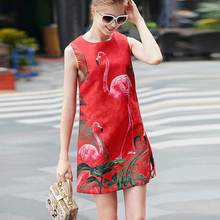 XF New Store Special High Quality Fashion Designer Dress Women'S Sleeveless Diamonds Floral Print Christmas Flamingo Red Dress(China)