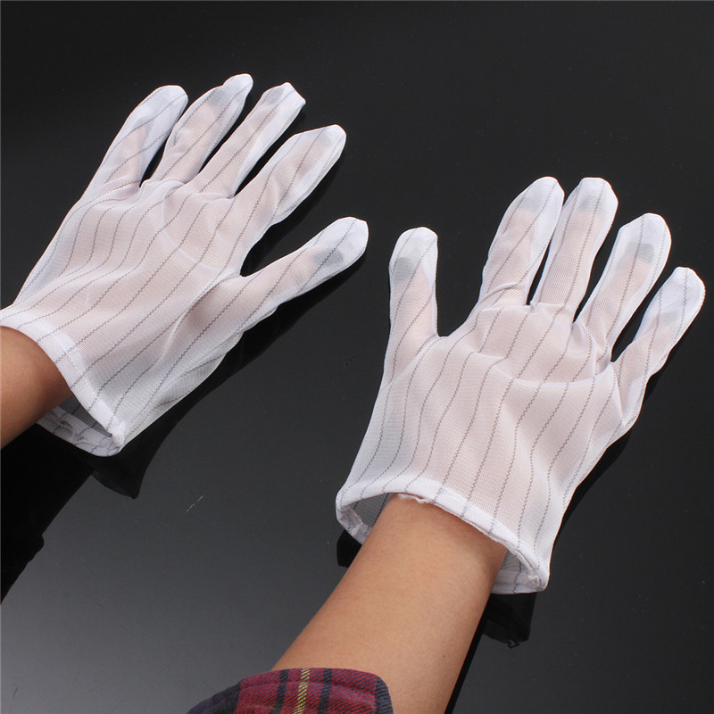 Good Elasticity 5 Pairs Breathable Polyester White Anti-static Anti-slip Gloves Labor Protection Gloves Free Shipping<br><br>Aliexpress