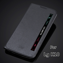 View Window Smart quick cover case for LG K10 K410 K420N Auto sleep super thin flip cover leather case