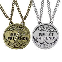 2017 New Broken Heart Shape Can Be Stitched Bronze And Silver Best Friends Pendants & Necklaces BFF Necklace 2 Parts/Set(China)