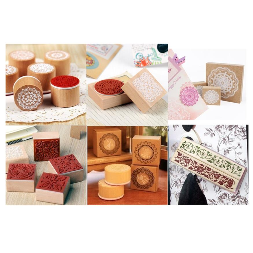 DIY Vintage Retro Wooden Stamp Lace Flower Stamps for Home Decoration Scrapbook Diary Gift Korean Stationery Free shipping 10003<br><br>Aliexpress