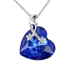 2017 new Fashion Ocean Heart necklace Blue crystal Pendant moon and star Jewelry For Women wedding Love Gifts