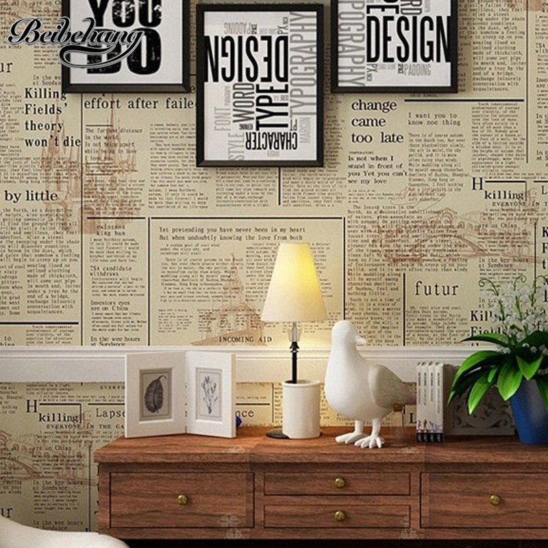 beibehang Do the old newspaper paper English newspaper news PVC wallpaper library coffee shop restaurant background wallpaper<br>